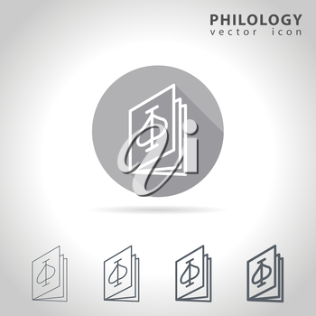 Philology outline icon set, collection of book icons, vector illustration