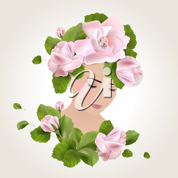 Girl stylized profile design with roses and spring leaves, vector illustration