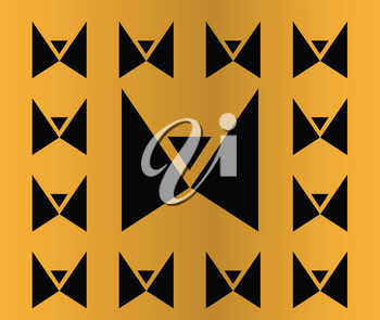 Abstract Butterfly Icon On The Golden Background