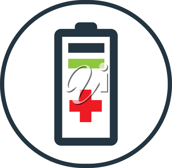 Battery with Red Plus Icon Design