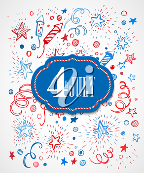 4th of July. American Independence Day. Hand-drawn pattern EPS10