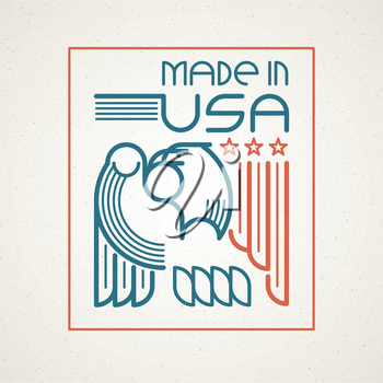 Made in the USA Symbol with American flag and eagle templates emblems. Vector illustration EPS 10