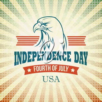 Independence Day holiday card with typography and an eagle. Vector illustration EPS 10