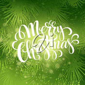 Christmas fir tree texture with greetings lettering. Vector illustration EPS 10