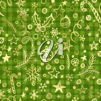 Cgristmas checkered seamless pattern with golden decoration. Vector illustration EPS 10