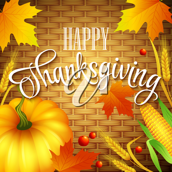 Thanksgiving Card wicker basket background. Vector illustration EPS 10