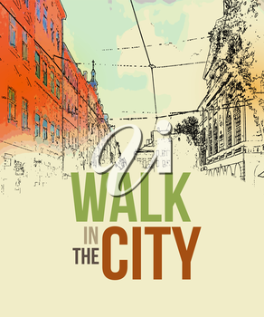 Walking in the city. Poster template. Vector illustration EPS 10