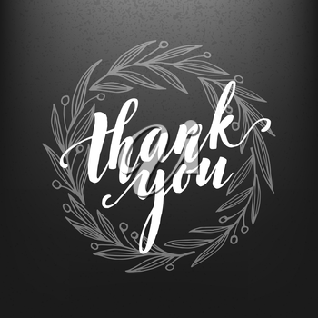 Thank You Card  chalk drawing on the blackboard. Vector illustration EPS10