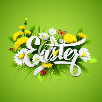 Title Easter with spring flowers. Vector illustration EPS10