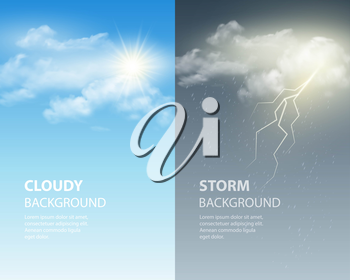 Thunder and lightning, sun and clouds. Weather background. Vector illustration EPS 10