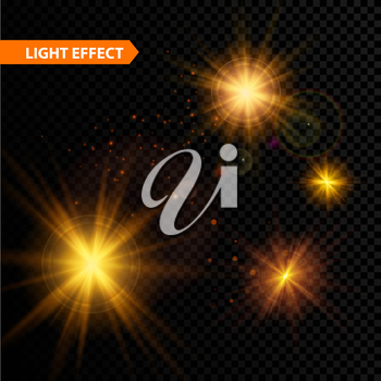 Set of  glowing light effect stars bursts with sparkles on transparent background. Vector illustration EPS 10