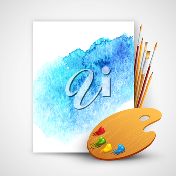 Realistic brush and palette on blue watercolor background EPS 10