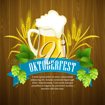 Oktoberfest Background with Beer. Poster template. Vector illustration EPS 10