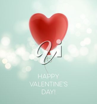 Valentines day greeting card with red heart shape balloon. Vector illustration EPS10
