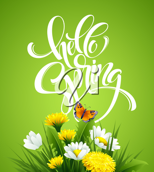 Inscription Hello Spring Hand Lettering on background with flowers. Vector illustration EPS10