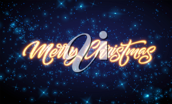 Merry Christmas neon lettering. Xmas greeting sign. Merry Christmas golden neon light isolated on black background. Xmas calligraphic text. Postcard, banner design element. Vector illustration