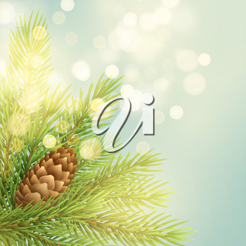 Realistic fir-tree branch with pinecone illustration. Spruce twig with bump on light background. Christmas decoration with glowing circle sparks. Postcard, banner design. Isolated vector