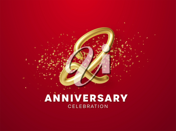Anniversary celebration design with Golden numbers, sparkling confetti and glitters. Realistic 3d festive illustration. Party event decoration. Vector illustration EPS10