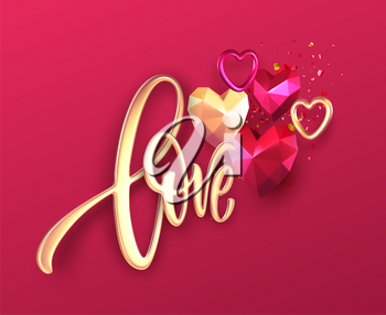 Valentines Day festive background with realistic metallic gold and red ruby low poly heart. Golden Lettering Love on red background. Vector illustration EPS10