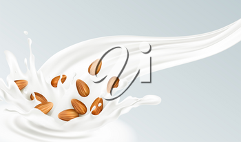 Realistic splash of almond milk on a gray background. Healthy eating concept. Vector illustration EPS10