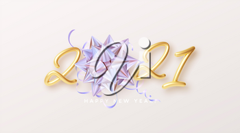Happy New Year Realistic gold lettering 2021 with gift golden holographic rainbow bow and golden tinsel on a white background. Vector illustration EPS10