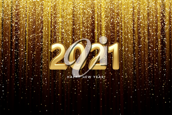 2021 realistic golden 3d inscription on the background of gold glitter confetti. Vector illustration EPS10