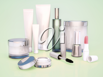 Set of cosmetics for women on a green background.