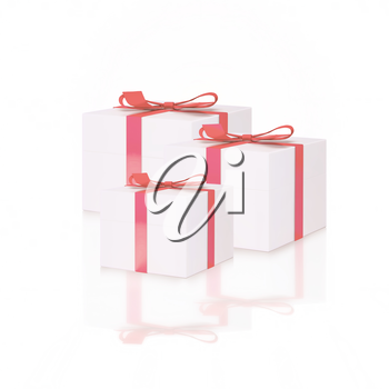White gift boxes with red ribbon bows, isolated on white.