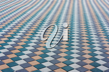 Mosaic of color stylish modern paving stones. Beautiful abstract background.City path, the area of stone