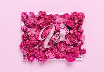 Composition of purple, pink flowers. Natural holiday lettering letterhead