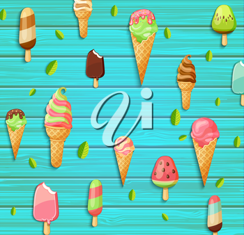 Colorful pattern made of ice cream, leaves on the blue wooden background, vector illustration.