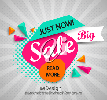 Big sale - bright modern banner with halftone background. Sale and discounts. Vector.