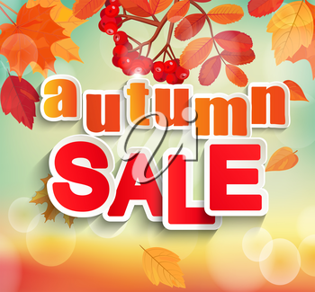 Autumn, Fall sale design. Can be used for banners or posters. Vector illustration bokeh background with colorful autumn leaves