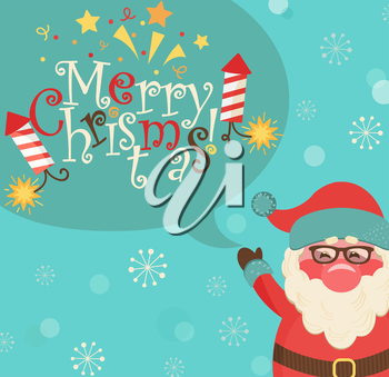 Santa and bubble with lettering - merry Christmas. Vector illustration.