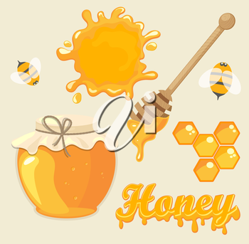 Vector illustration set of jars with honey, honeycomb, lettering and bees. Natural healthy food production.