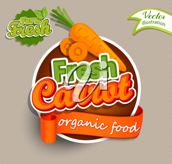 Fresh carrot logo lettering typography food label or sticker. Concept for farmers market, organic food, natural product design.Vector illustration.