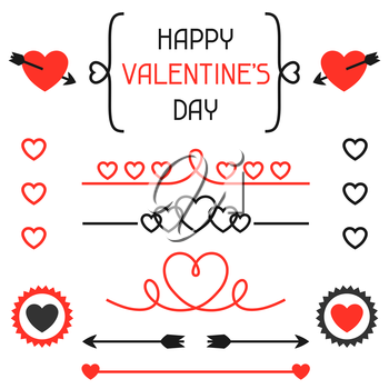 Happy valentines day set of decoration, dividers. Objects and love holiday symbols.
