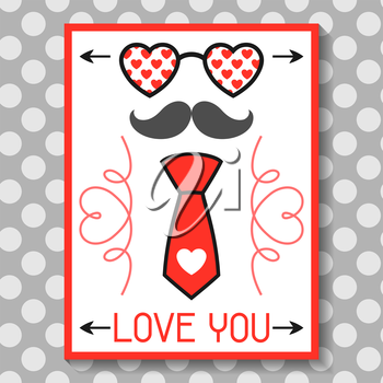 Happy valentines day greeting card. Hipster objects and love holiday symbols