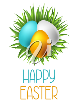 Happy Easter greeting card with eggs. Concept can be used for holiday invitations and posters.