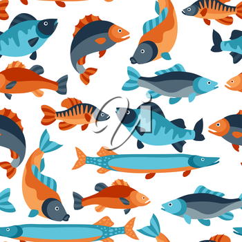 Seamless pattern with various fish. Background made without clipping mask. Easy to use for backdrop, textile, wrapping paper.