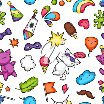 Carnival party kawaii seamless pattern. Cute cats, decorations for celebration, objects and symbols.
