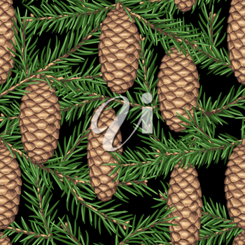 Seamless pattern with fir branches and cones. Detailed vintage illustration.