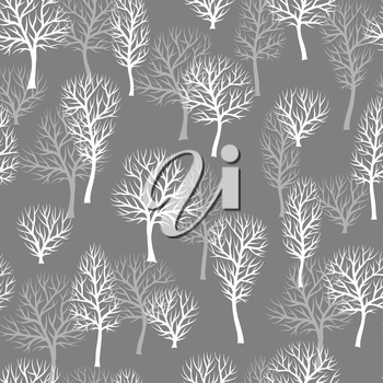 Seamless pattern with abstract stylized trees. Natural view of white silhouettes.