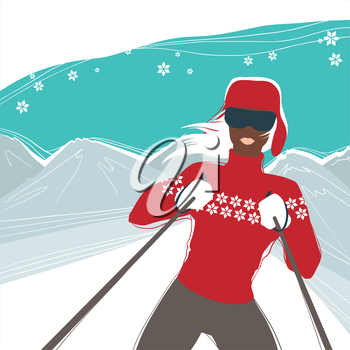 Glamour girl skiing winter sports illustration.
