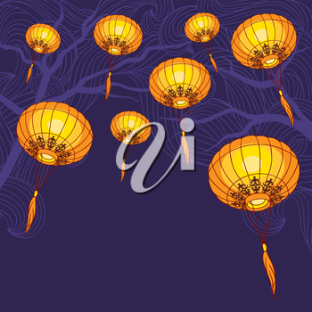 Fairy-lights big traditional chinese lanterns. Vector illustration.