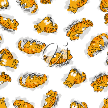 Seamless pattern with funny cats. Vector illustration.
