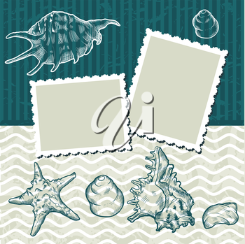 Vintage background with old postcards and seashells.