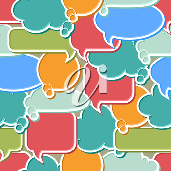 Seamless pattern of colorful speech bubbles and dialog balloons.