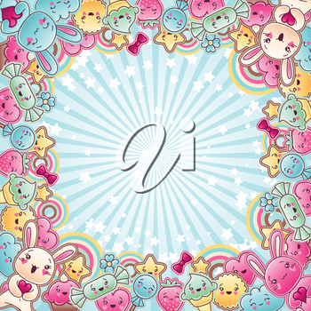 Cute child background with kawaii doodles.