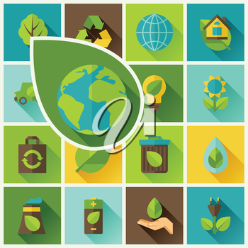 Ecology background with environment, green energy and pollution icons.